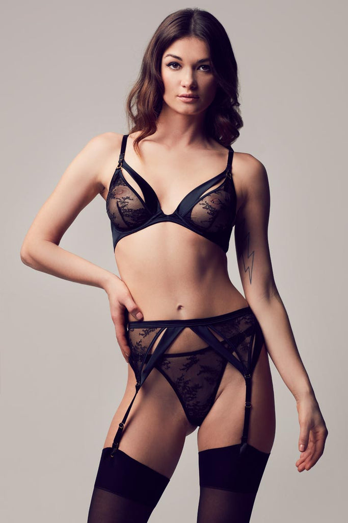 Tatu Couture Sylvia Suspender in lace on model