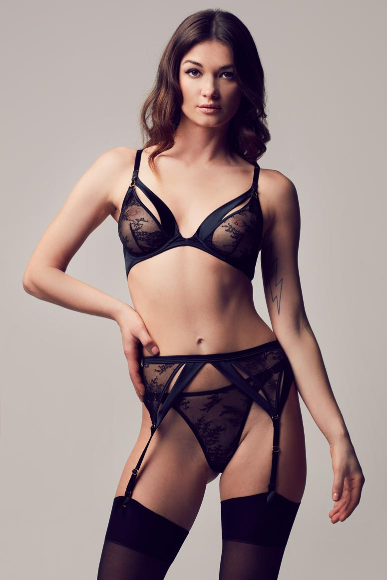 Sylvia high end erotic lingerie in stretch satin and sheer black lace with peep bra, thong and suspender