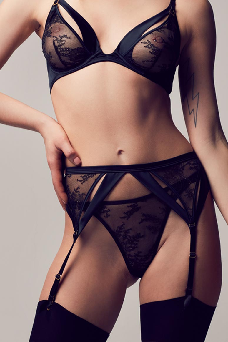 Sylvia Black lace garter belt and stockings