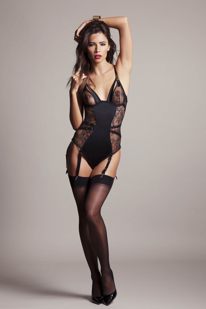 Sylvia Designer lace bodysuit with peep opening cup