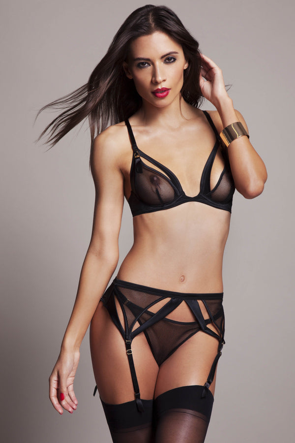 Sylvia high end erotic lingerie in black satin and fishnet lace with peep bra, thong and suspender