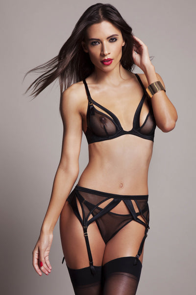 Sylvia Suspender by Tatu Couture. Front view on model
