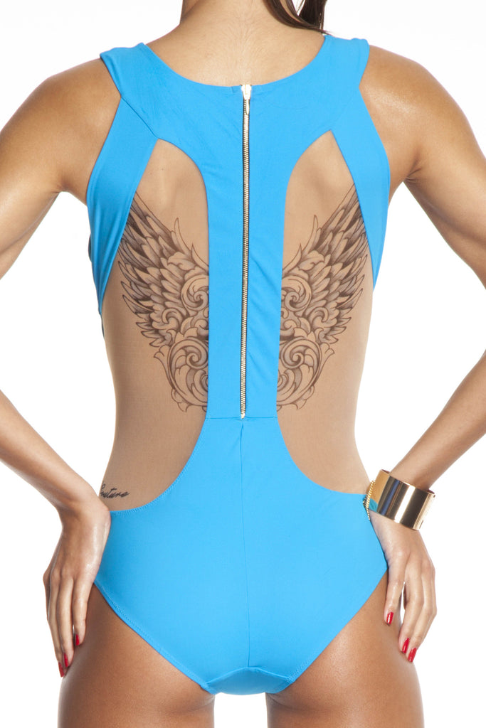 Gold zip back designer one-piece swimsuit featuring wing tattoo print
