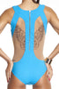 Tatyana swimsuit in turquoise by Tatu Couture. Back view showing winged tattoo design.