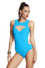 Tatyana swimsuit in turquoise by Tatu Couture. Front view showing winged tattoo design.