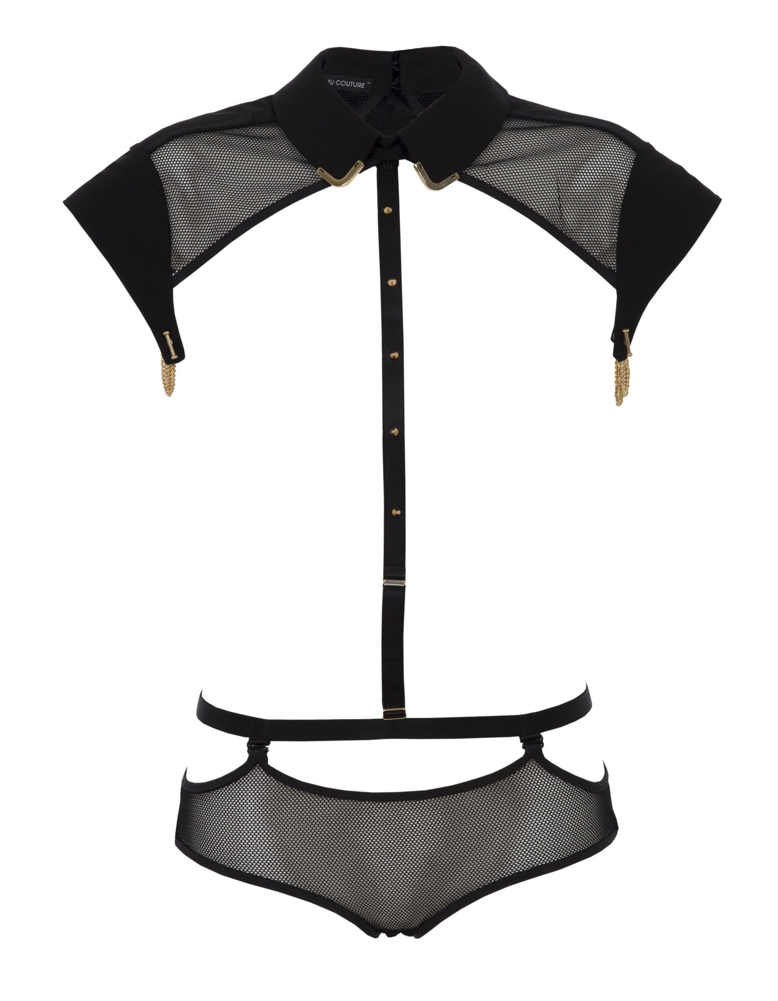 Josephine Collar with detachable knicker and suspenders (mesh)