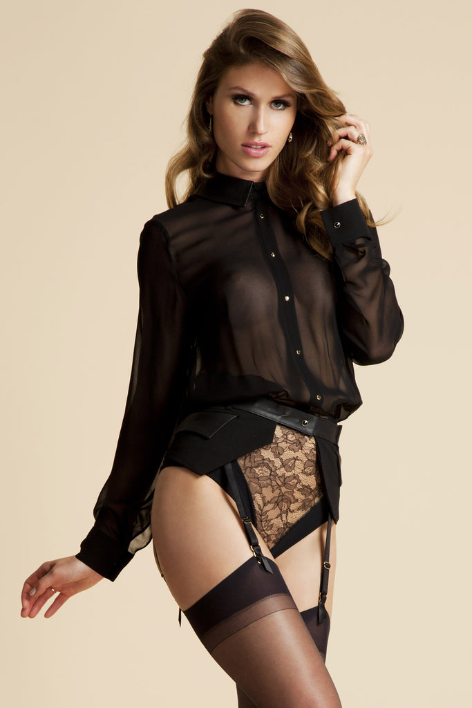 Lula Black designer bodysuit blouse with black lace brief, worn with Talia suspender belt
