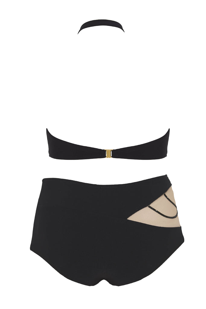 Nikita high-waisted bikini featuring Swarovski crystals and asymmetric top