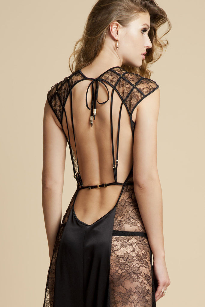 Open back sheer lace gown in luxury black lace and silk by Tatu Couture