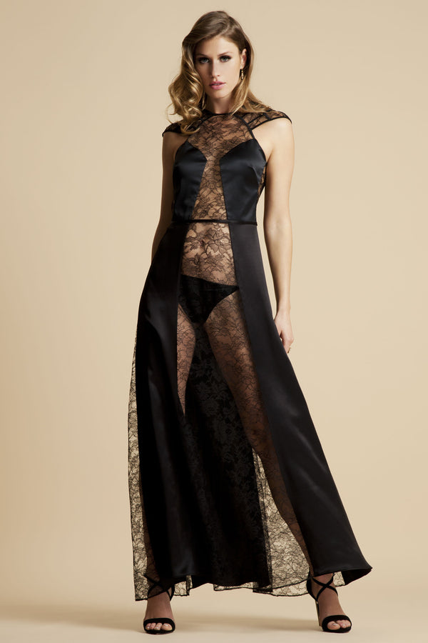 Sheer black lace lingerie gown in silk and high end lace by Tatu Couture Luxury Lingerie