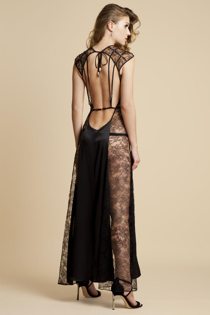 Sheer black lace gown with silk and open back by Tatu Couture Luxury Lingerie