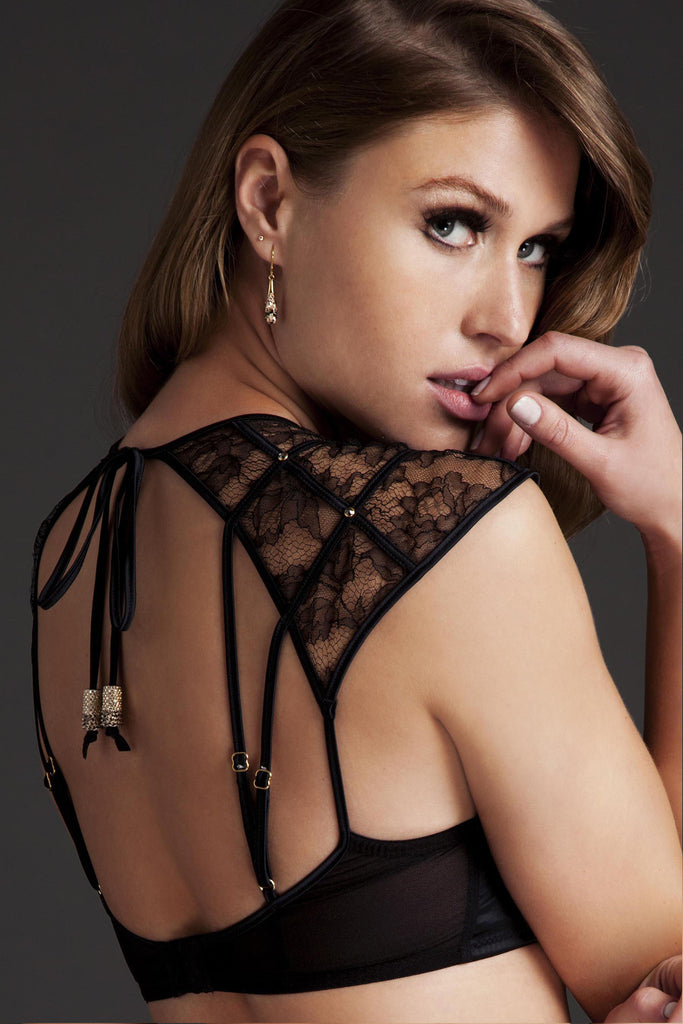 Xena Black luxury bra with high neck and crystal detail by Tatu Couture Lingerie