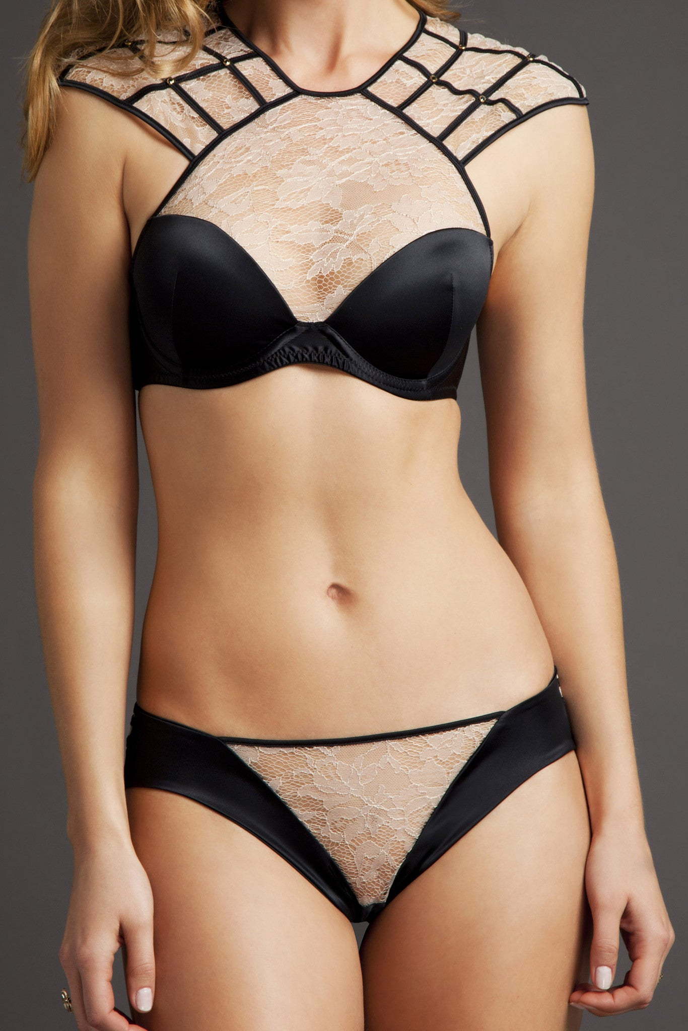 Tatu Couture Xena Brief Blush front view on model