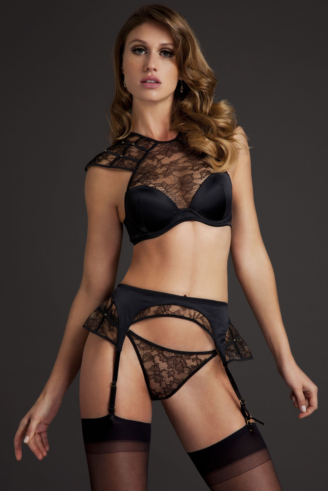 Xena Black lace high neck bra and luxury lingerie set
