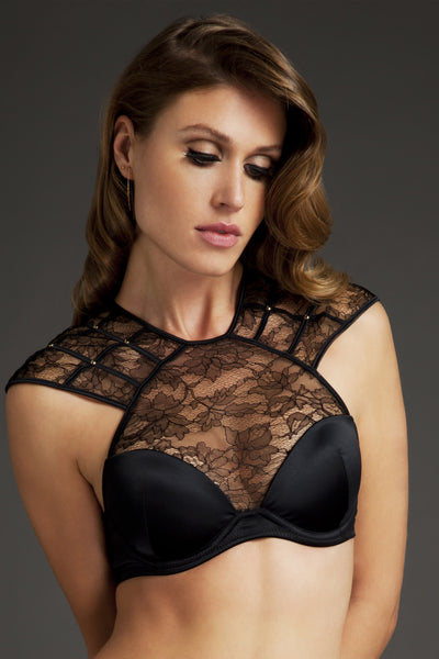 Xena Black lace high neck bra by Tatu Couture Luxury Lingerie