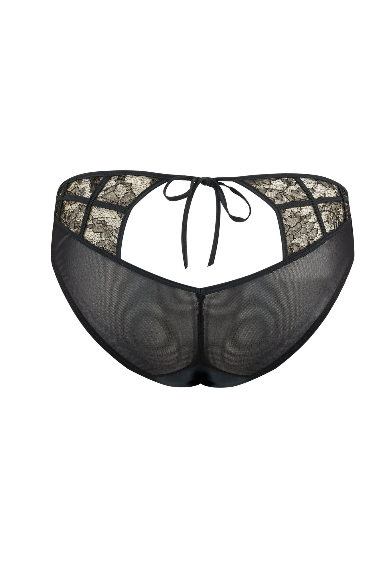 Sheer black ouvert back brief with luxury lace panels and tie detail