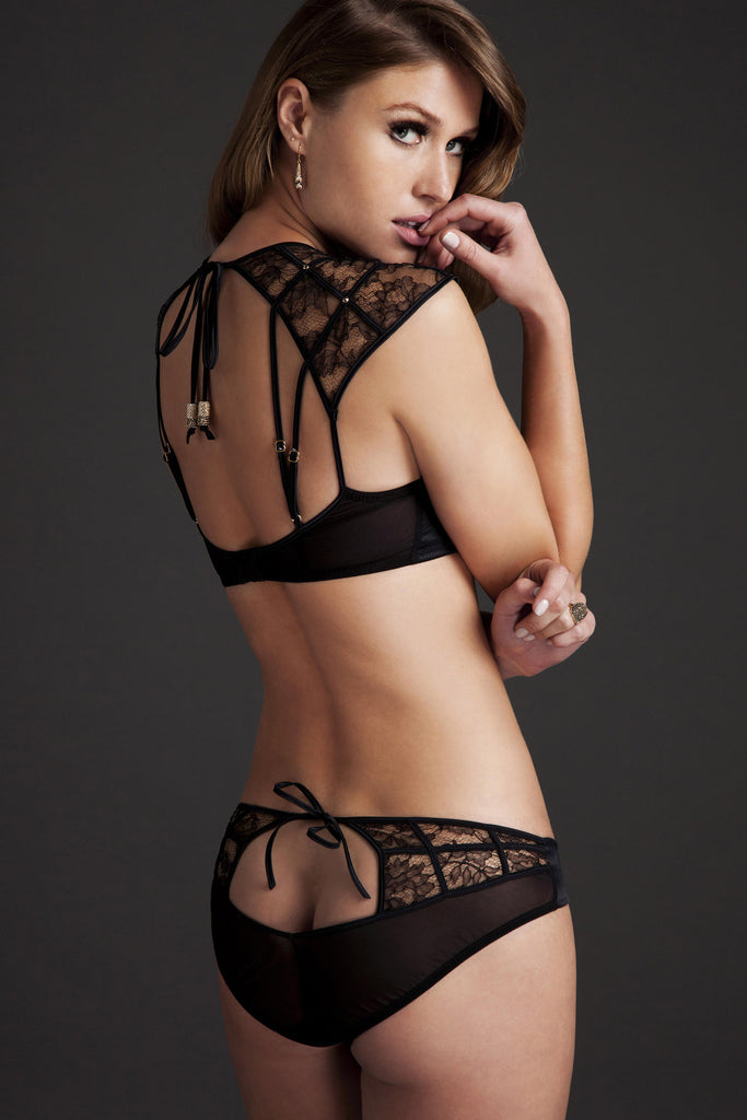 Xena Black lace ouvert brief with tie back worn with luxury bra