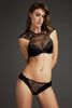 Sheer black lace and satin ouvert brief worn with luxury black lace high neck bra