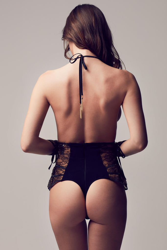 Designer bodysuit with tie back and sheer black lace, part of Xena Black luxury erotic lingerie collection by Tatu Couture
