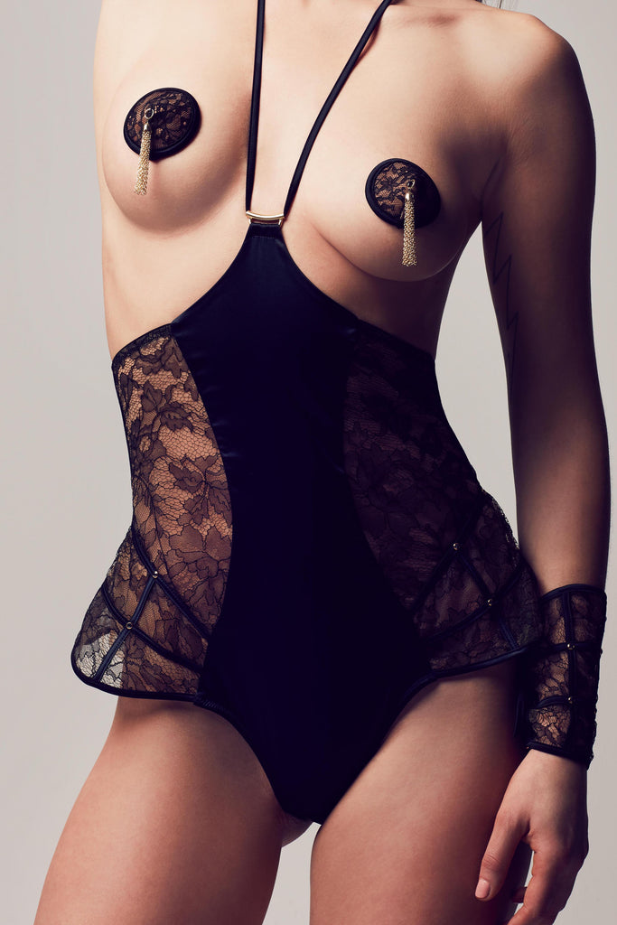 Erotic designer lingerie with Xena Black playsuit in sheer lace by Tatu Couture Luxury Lingerie