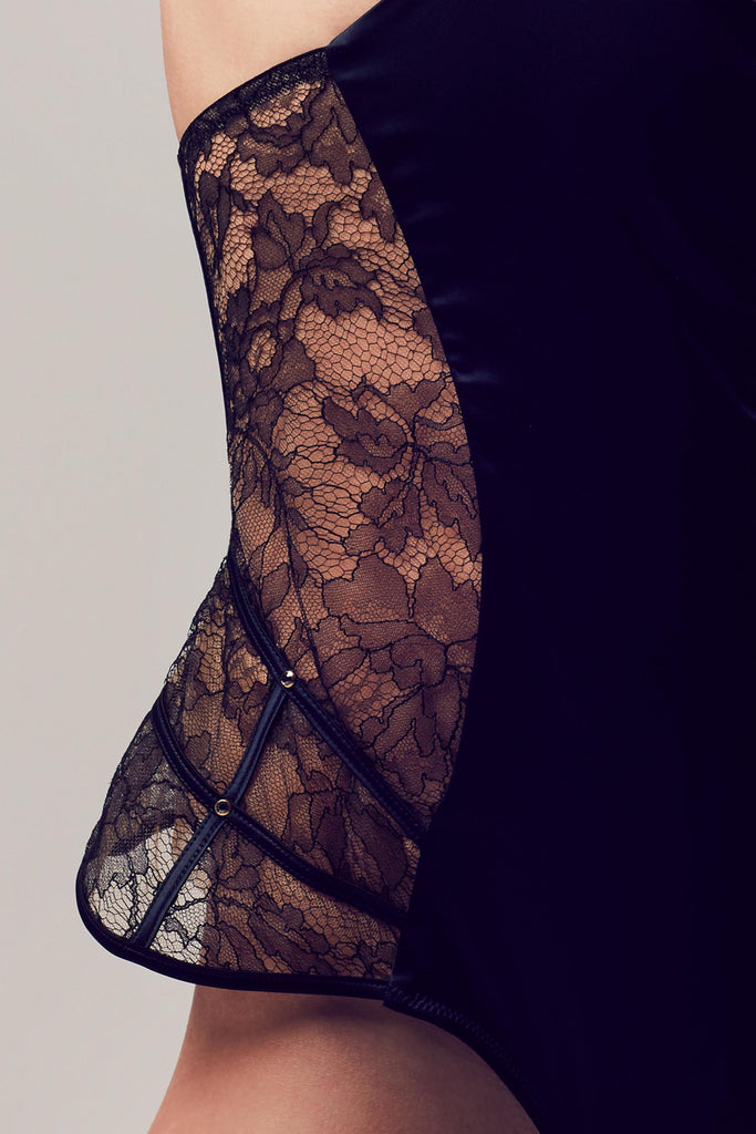Sheer black lace detail on Xena Black designer playsuit by Tatu Couture Luxury Lingerie
