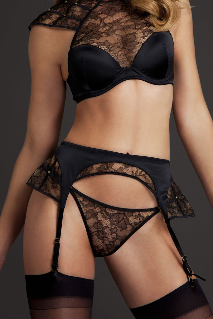 Xena Black Sheer Lace Thong worn with black lace suspender and luxury high neck bra