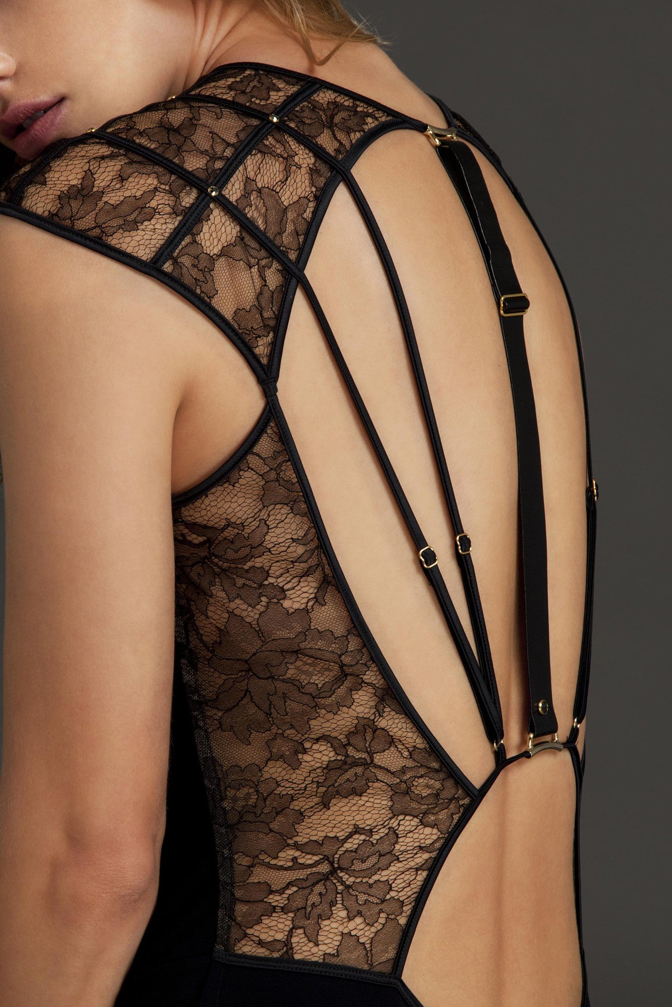 Xena Black designer bodysuit, strapping back detail with black lace panels, luxury lingerie by Tatu Couture