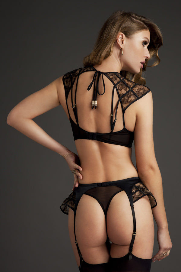 Xena Black Sheer Lace thong with mesh back and matching designer lingerie set