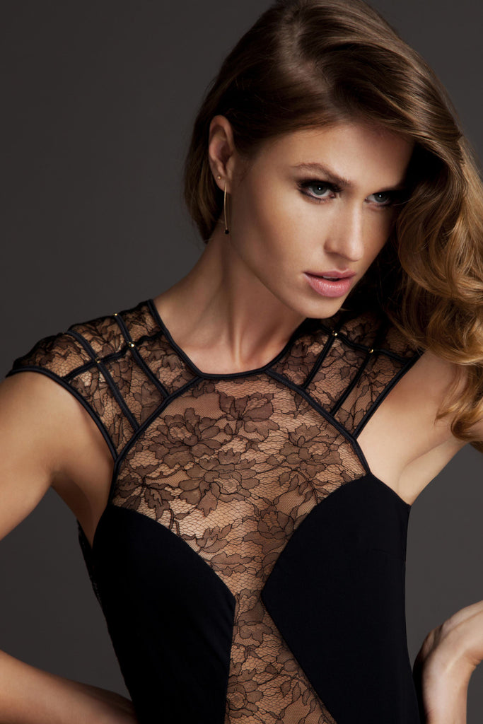 Xena Black lace designer bodysuit with crystals, made in the UK by Tatu Couture Luxury Lingerie