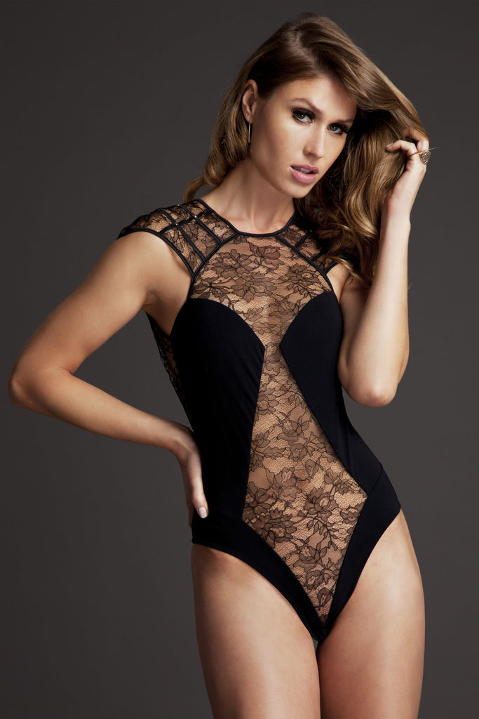 Sheer lace bodysuit from Xena Black luxury lingerie collection by Tatu Couture