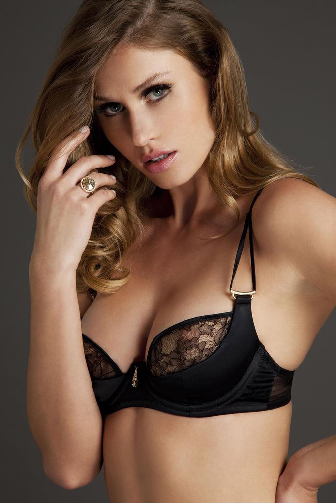 Xena Black plunge bra in luxury sheer black lace and satin by Tatu Couture Lingerie