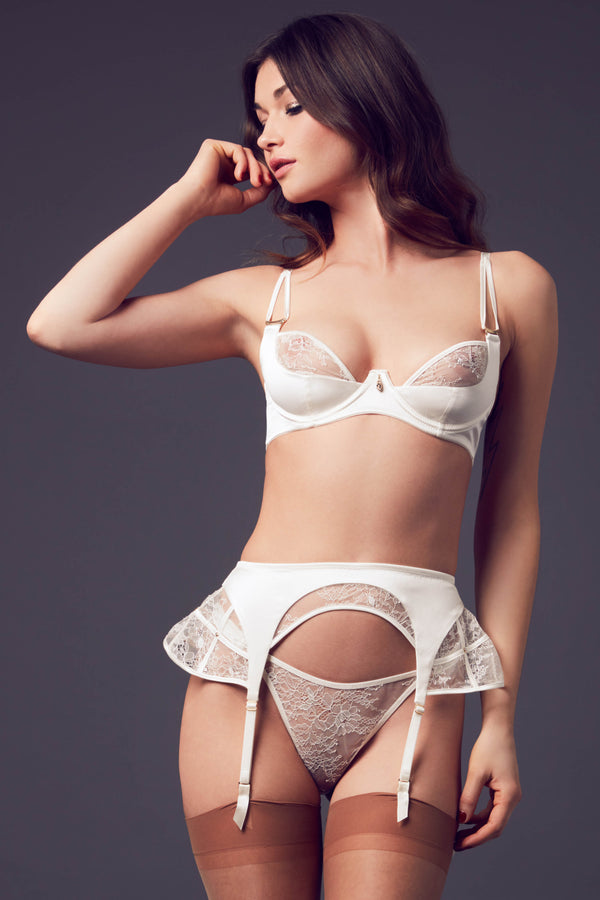 Ivory satin and lace suspender belt  part of the Xena luxury Bridal lingerie range