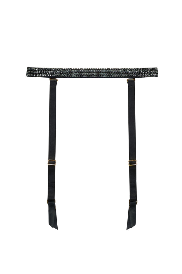 Ciara black suspender belt featuring Swarovski crystals.