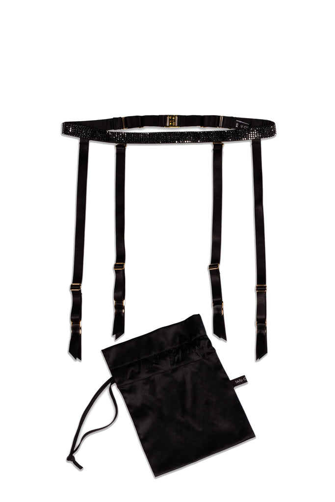 Ciara suspender belt featuring Swarovski crystals with signature gift bag