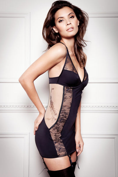Tatu Couture Mila Suspender Slip  side view on model
