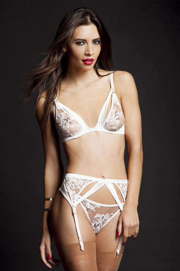Nadya white  thong - Luxury Lingerie by Tatu couture