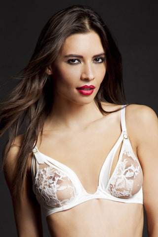 Nadya Peep Bra by Tatu Couture. Front view on model.