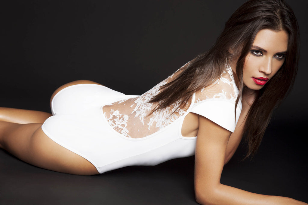 White lace bodysuit – designer bodysuit by Tatu Couture luxury lingerie