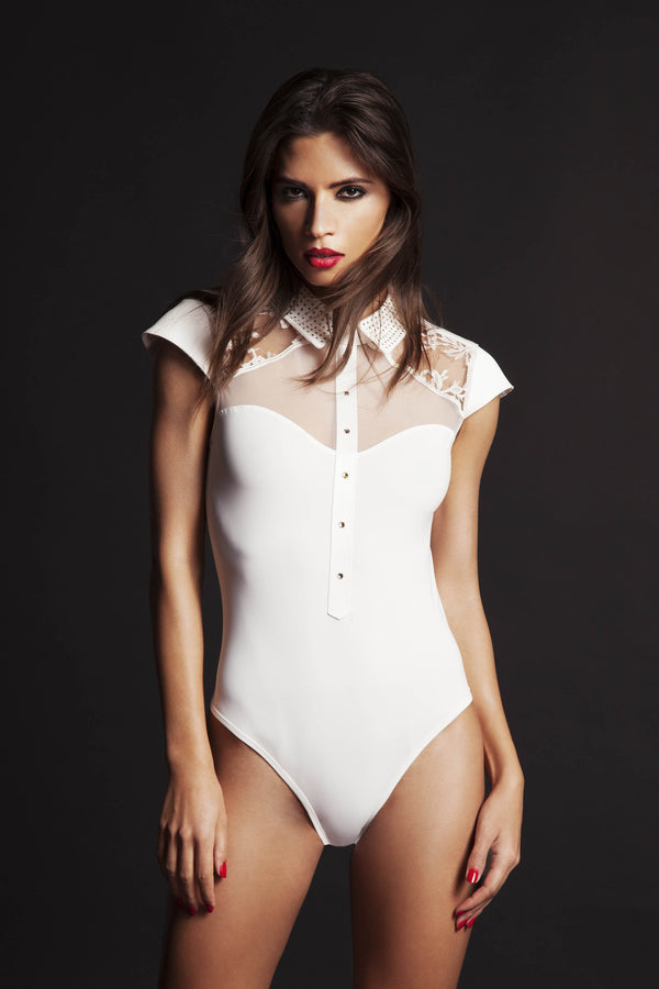 Luxury ivory lace bodysuit designed by Tatu Couture Luxury Lingerie