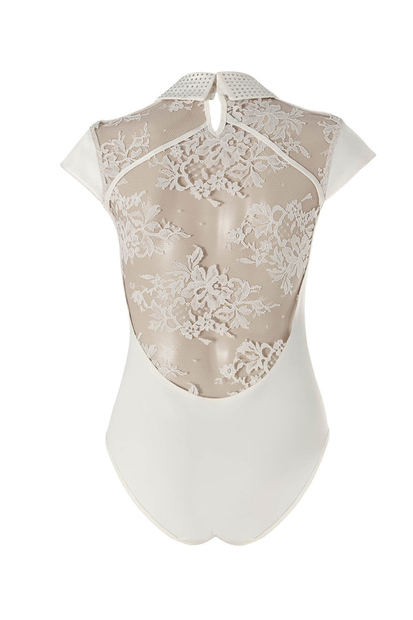 Nadya collar bodysuit with Swarovski crystals and couture lace back.