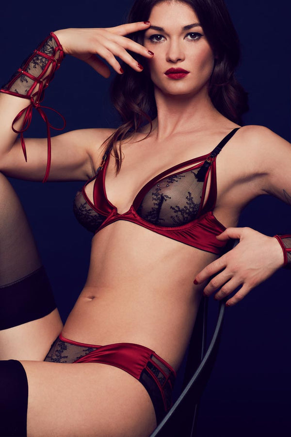 Tatu Couture Odette ouvert brief and seductive lingerie set in deep red satin and sheer black lace