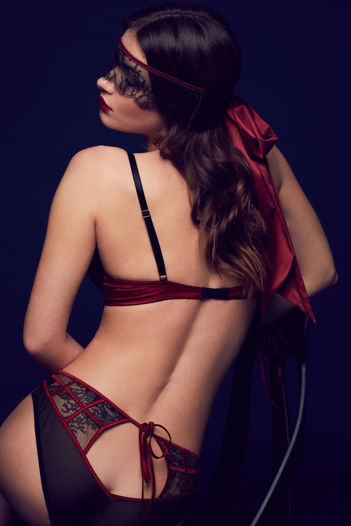Odette luxury ouvert brief and boudoir lingerie set, worn with lace eye mask / blindfold.