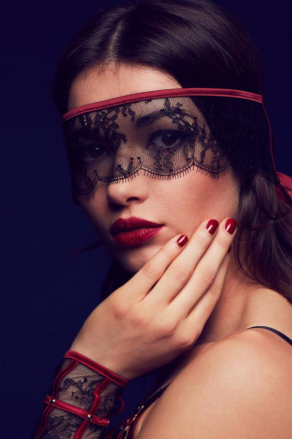 Odette lace eye mask / blindfold in luxury black lace with red satin