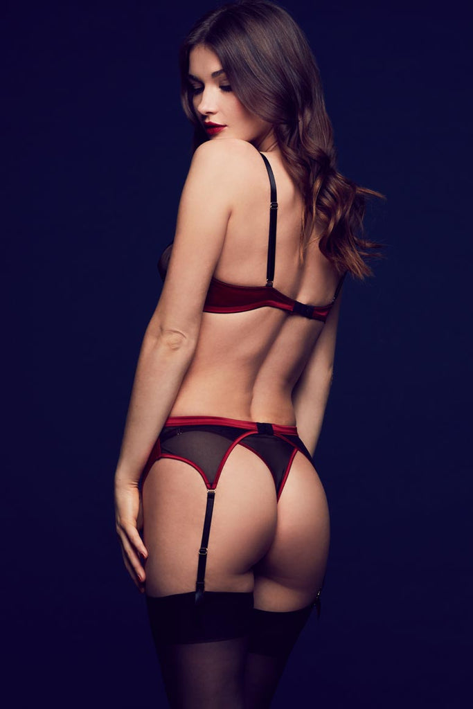Tatu Couture Odette luxury erotic lingerie and garter belt in sheer black lace and red satin