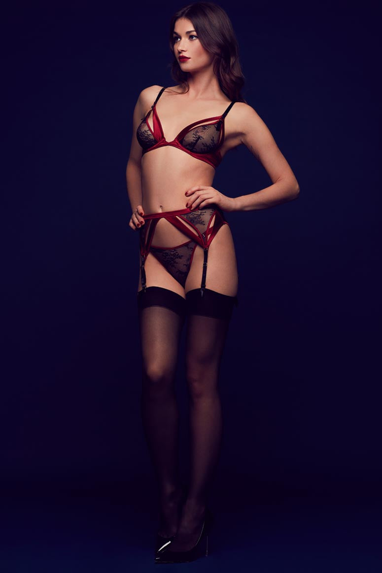 Odette black and red luxury lingerie with sheer lace garter belt, ouvert bra and thong