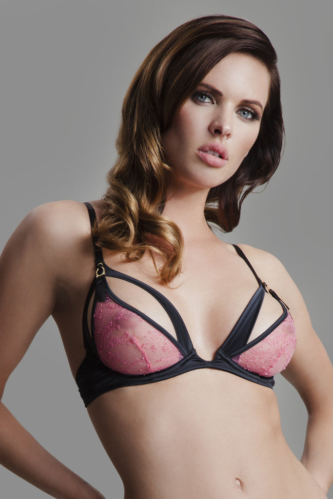 Laetita Peep lace Bra in hot pink | Luxury lingerie by Tatu Couture