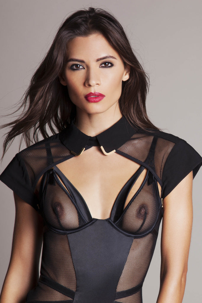 Josephine Collar & body Harness worn with Sylvia peep bodysuit