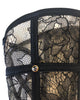Detail of sheer black lace and crystal stud on Tatu Couture luxury boudoir wrist cuffs
