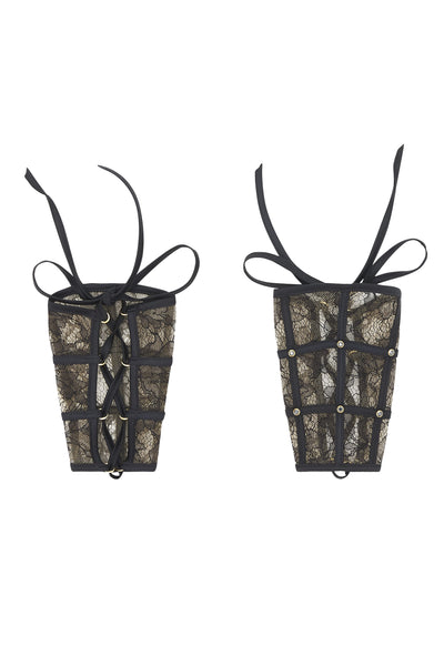 Xena Black lace cuffs, luxury bondage lingerie by Tatu Couture