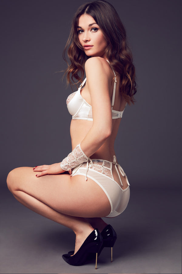 Luxury lace brief crafted from stretch satin and French chantilly lace part of Xena luxury bridal collection